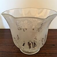Antique Victorian Small Frosted Glass Ruffled Lamp Shade Floral Fleur de Lis