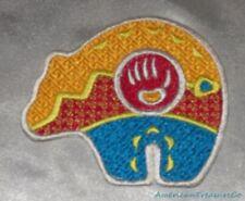 Embroidered Native Bear Paw w/Arrowhead Art Patch Red Gold Aqua Iron On Sew USA
