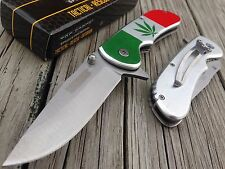 "8"" TAC FORCE MARIJUANA CANNIBIS Spring Assisted Open Pocket Knife Tactical Blade"