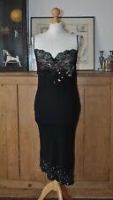 272ba8bd5d LADIES VINTAGE KAREN MILLEN BLACK EMBELLISHED AND BEADED PARTY SLIP DRESS  UK 12