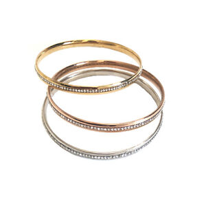 3pcs Tri-Tone Stainless steel Bracelet with Crystal Women's Bangle Set