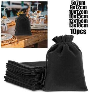 100x Black Velvet Drawstring Velour Pouch Jewelry Baggie Ring Gift Bag Pouch Set