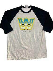 WWF WWE 2004 John Cena Official Word Life 3/4 Sleeve T-Shirt L Wrestlemania XX