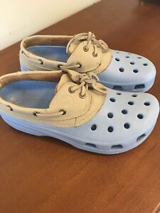Womens Light Blue CROCS size 10 In VERY GOOD CONDITION