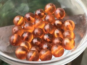 50 Beautiful Lt Honey Amber Translucent Bakelite 10mm  Loose Beads Without Holes