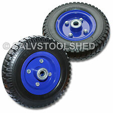 "8"" Solid Rubber Wheels Trolley 2pcs Flat Free Puncture Proof Tire Tyre 20mm Bore"