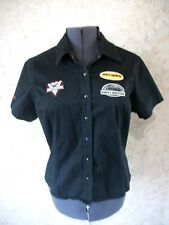 Harley Davidson Motorcycles Womens Black Mechanic Shirt Blouse Patched LARGE