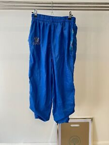 Gucci Vintage 80's Blue Shell Material Cuffed Retro Logo Jogging Trousers UK M