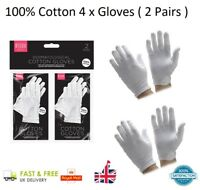 4 x 100% COTTON WHITE GLOVES Moisturising Eczema Butler Beauty Magician 2 Pairs