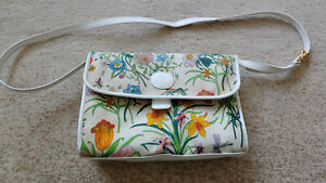 Gucci Authentic Vintage Cross Body Multi-Color Flora & Fauna on White Pre-Owned