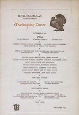 Nov. 28, 1935 Hotel Multnomah Thanksgiving Dinner Menu, Original, $1.25