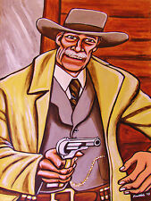 PALE RIDER PAINTING movie western cowboy hat colt army pistol clint eastwood