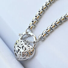 "9K White Gold Filled Belcher Bracelet With Heart Locket ""Stamp 9K"" (18cm)"