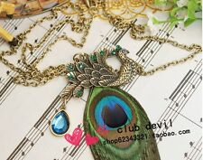 Fashion jewelry Peacock feather Retro Pendant sweater Chain Necklace Zs109