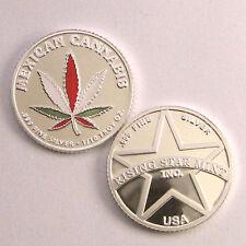1/10th Troy Oz Pure .999 solid silver Mexican R/W/G leaf Cannabis Bullion Coin