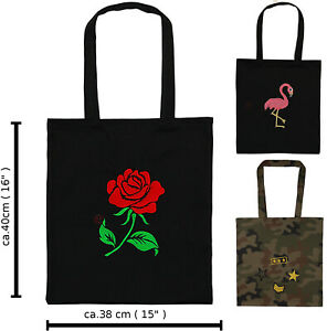 Eco Tasche 40cm/38cm Einkauftasche Dekotasche gestickten Baumwolle Deko Shopping
