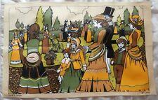 BN Vintage 1970's Collectable 100% Cotton Edwardian Scene Print Large Tea Towel