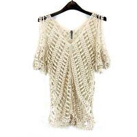 XCVI Size 1 Crocheted Cold Shoulder Cream Short Sleeve Top