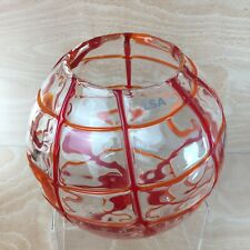 LSA International Handmade Decorated Glass Vase Bowl Clear With Trailed Orange