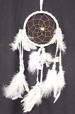 White Dream Catcher Handmade With Leather & Feathers Car Or Wall Decor ( QTY 2 )