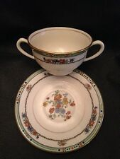 "Coxon Belleek ""Iota"" Two Handled Broth/Boullion Cup Green Trim, Enameled Accents"