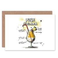 Pina Colada Cocktail Drink Blank Greeting Card With Envelope