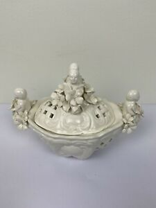 Vintage - Chinese Blanc de Chine Porcelain Bowl with Lid - Candy, Jar, Box