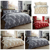 Animal Stags Print Floral Duvet Cover Quilt Reversible Bedding Sets Double King