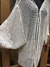 Lace Kimono Off White Vintage Look Embroidered Cloak