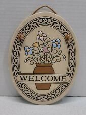 Welcome Ceramic Trinity Pottery Wall Display Plaque Sign Flower Pot Made in USA