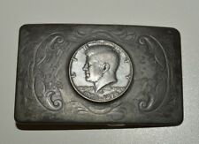 Vintage 1976 Coin Collector JFK Half Dollar Western Custom Belt Buckle Rare