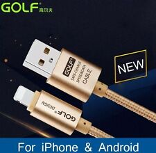 Golf 2METER Long 2.1A Fast Charge & Data Metal Braided Cable for iPhone 7 7 Plus