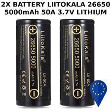 2x BATTERY LIITOKALA 26650 5000mAh 50A 3.7v LITHIUM RECHARGEABLE BATTERIA FLAT