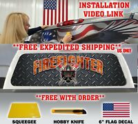 FIREFIGHTER  FIRE DEPT. AX FIRE RESCUE MALTESE CROSS BACK WINDOW DECAL TINT