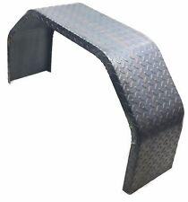 Set of 2) Tread/Diamond Plate, Double Broke, Single Axle Trailer Fenders 9x32x17