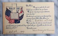 Rally Day Church Scene Holy Bible October 1909 Antique Postcard Flag
