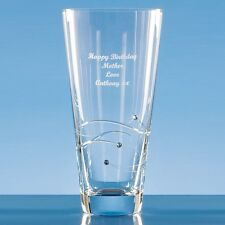 Personalised Engraved Diamante Crystal 20cm Swirl Vase  Anniversary Wedding