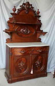 American Victorian Walnut marble top Sideboard Huntboard Buffet
