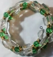 Memory Wire Wrap Bracelet With  Green & Clear Color Toned Glass Beads  Handmade