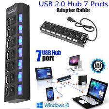 Black Long Cable High Speed 7 Port USB Multi HUB Splitter Expansion USB 3.0 HUB