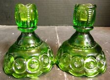 """Vintage L.E. Smith Green Moon & Star Candlesticks Candle Holders 4.5"""" x 4"""" Excel"""