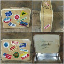 Vintage Gray Dunn Biscuit Tin Suitcase Travel Bag Luggage Labels Metal Scotland