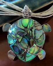 ".925 STERLING SILVER TURTLE PAUA ABALONE SHELL PENDANT PIN BROOCH 1.25x1.4"" 35mm"
