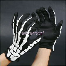 Unisex Halloween Cosplay Skull Skeleton Bone Gloves Full Finger Warm Gloves