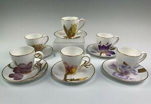 6 Royal Copenhagen Flora Demitasse Cup & Saucer Sets Various Flowers