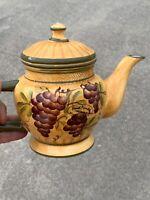 Vintage CASA VERO by ACK Vineyard Grapes Grape Vine Teapot Hand painted ❤️sj3j