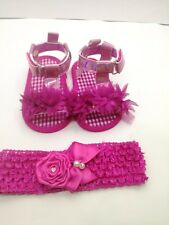 Scarpe neonata/Sandali neonata/Fascia per capelli neonata Set 2 PZ/ 3/6 mesi