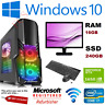 GAMING PC COMPUTER Intel i7 3.4 Ghz New 240 SSD 16 GB RAM 4GB GTX 1650 Win 10