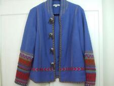 Coldwater Creek Blue Boiled Wool Lined Jacket Southwest Aztec Concho Design Sz M