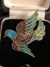 Vintage Chino Vermeil Filigrana Plata Y Esmalte Pájaro Broche/Pin